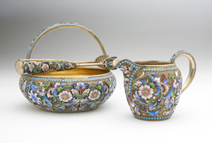 A set of exquisitely executed Russian enamel tea accessories (dated 1899-1908) should bring $3,000 to $5,000. John Moran Auctioneers image.