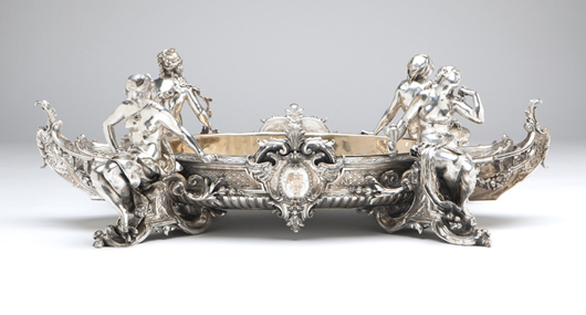 This fantastical 19th century monumental centerpiece in silvered bronze is a gorgeous statement piece, carrying an estimate of $20,000 to $30,000. John Moran Auctioneers image.