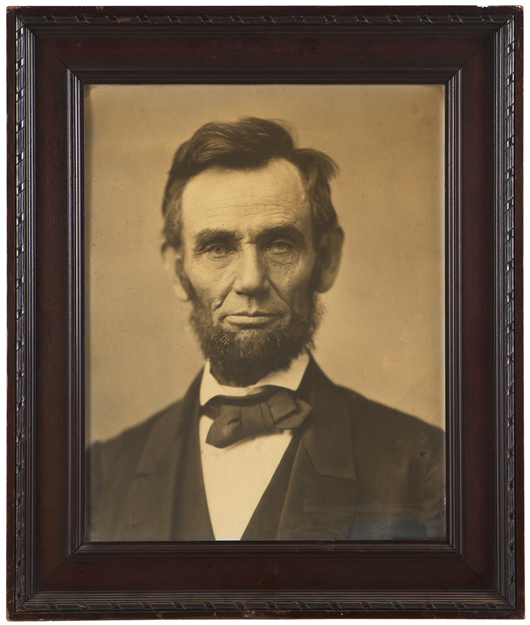 John Moran Auctioneers will offer this arresting photographic portrait of America's 16th president at the March 12 auction (estimate: $800 to $1,200). John Moran Auctioneers image.