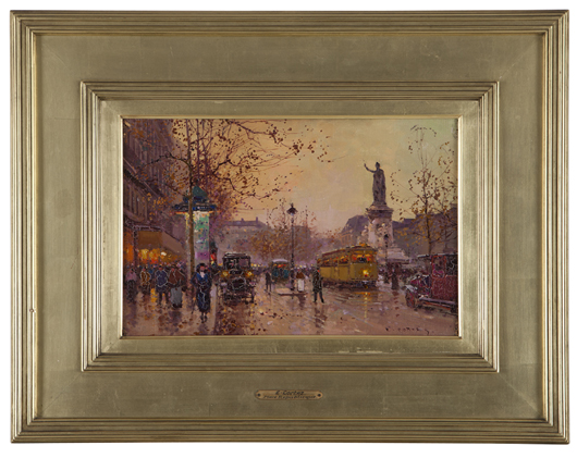 A charming street scene in oil by Edouard Cortes titled 'Place Republique' is offered at $7,000 to $9,000. John Moran Auctioneers image.