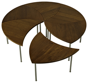 This three-part teak coffee table was designed by Peter Hvidt for France and Son of Denmark in the 1960s. It is 17 inches high and, when put together, 51 inches in diameter. Rago Arts and Auction Center of Lambertville, N.J., sold it for $4,000.