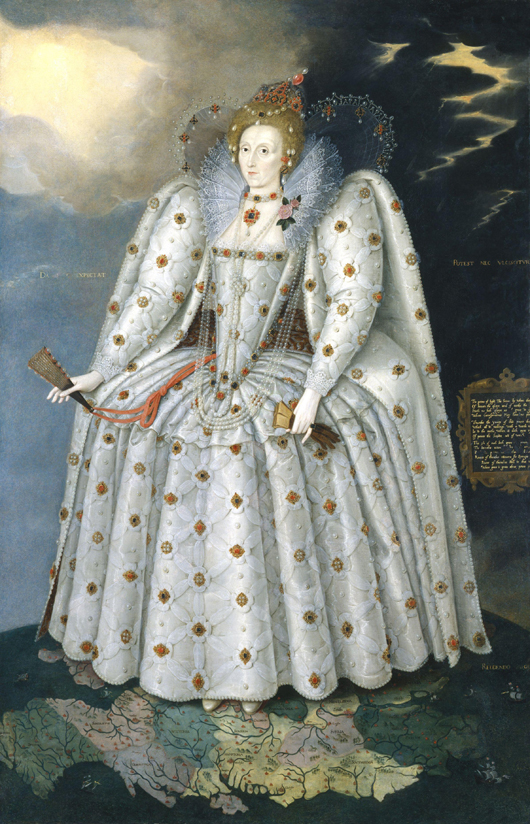 A more famous portrait of Queen Elizabeth I, 'the Ditchley portrait,' by Marcus Gheeraerts the Younger, circa 1592. National Portrait Gallery, bequest of Harold Lee-Dillon, 17th Viscount Dillon, 1932. Courtesy Wikimedia Commons.