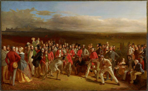 'The Golfers,1847.' Charles Lees, Scottish, 1800 -1880. Oil on canvas, 51 1/2 x 84 1/4 inches (130.8 x 214 cm). Framed: 66 3/4 x 99 x 3 3/4 inches (169.5 x 251.5 x 9.5 cm). The Royal and Ancient Golf Club with the assistance of the Heritage Lottery Fund, the Art Fund and the Royal and Ancient Golf Club, 2002. Private Collection c/o High Museum of Art.