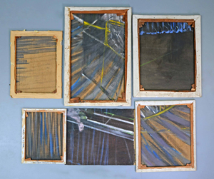 Canvas fragments cut from Francis Bacon's (1909-1992) 'Screaming Pope' paintings. Five of the six have been authenticated. Courtesy Ewbank's.
