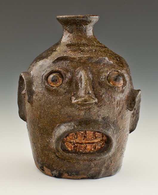 'Face Jugs: Art and Ritual in 19th Century South Carolina' is on view at the Birmingham Museum of Art through April 7. Organized by the Chipstone Foundation and the Milwaukee Art Museum, the exhibition includes this circa 1862 head with a rare inscription on the reverse. Chipstone Foundation Collection.