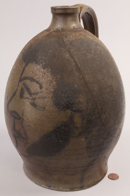 Discovered in Washington County in southwest Virginia, this mid-19th century jug has a profile portrait head painted in cobalt, rather than a sculpted face. The unsigned piece brought $5,800 at Case Auctions in 2011. Courtesy Case Auctions.