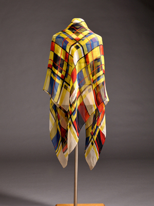Yves Saint Laurent 'Mondrian' scarf, France, c. 1990s. Provenance: formerly property of the Metropolitan Museum of Art, New York. Estimate: $200-300. Skinner Inc. image.