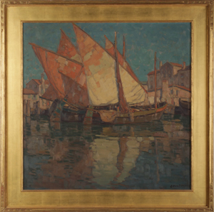 Signed oil painting by California artist Edgar Alwin Payne titled Waterfront Sotto Marina. Price realized: $84,000. Kamelot Auction House image.