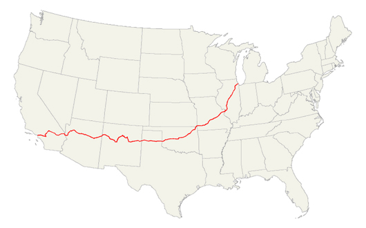 map showing the route of u s 66 from chicago to los angeles image by freddie
