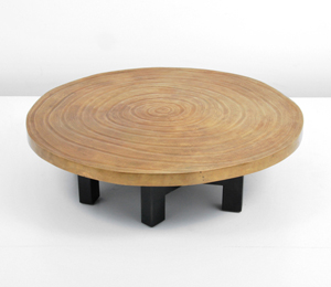 Ado Chale (Belgian, b. 1928-) bronze-top cocktail table with simulated wood-grain pattern, metal legs. Est. $50,000-$70,000. Palm Beach Modern Auctions image.