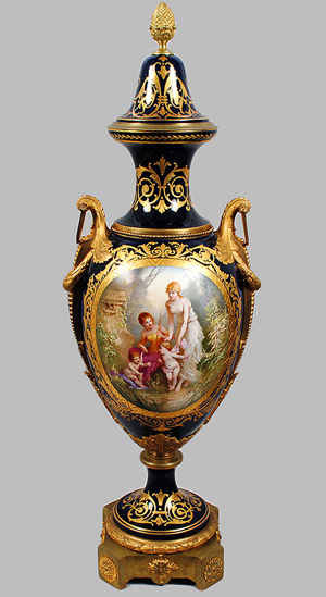 Sevres, painted by 'C. Labarre,' 54 5/8 inches high. Auction Gallery of the Palm Beaches Inc. image.
