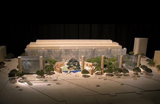 Model of the proposed Dwight D. Eisenhower Memorial. Eisenhower Memorial Commission image, courtesy of Wikimedia Commons.