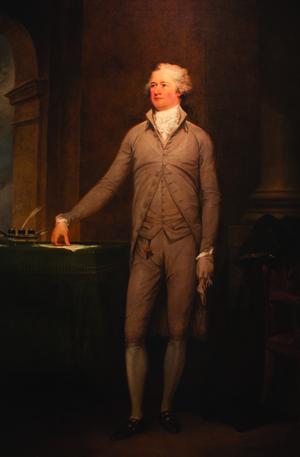 John Trumbull's famous portrait of Alexander Hamilton, Secretary of the Treasury under President George Washington. Image courtesy of Crystal Bridges Museum of American Art.