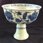 Chinese blue and white stem cup, possibly Ming Dynasty. Estimate: $800-$1,200AUD. Ravenswick image.