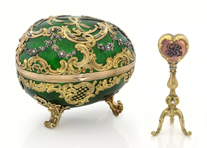 The 1902 Kelch Rocaille Egg. All seven Kelch eggs created by Michael Perchin, Faberge's second head workmaster; St. Petersburg. Height: 12 cm, Length: 14 cm. Given by Alexander Kelch to his wife Barbara Kelch-Bazonova. Image courtesy the Houston Museum of Natural Science.