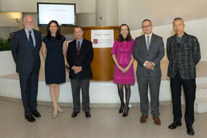 From the left: Richard Armstrong, director, Solomon R. Guggenheim Museum and Foundation; Jean Miao, operations director, the Robert H.N. Ho Family Foundation; Ted Lipman, CEO and president, the Robert H.N. Ho Family Foundation; Alexandra Munroe, Samsung senior curator of Asian Art, Solomon R. Guggenheim Foundation; Thomas J. Berghuis, future Robert H.N. Ho Family Foundation curator of Chinese Art; Cai Guo-Qiang. Photo: Kris McKay © Solomon R. Guggenheim Foundation.