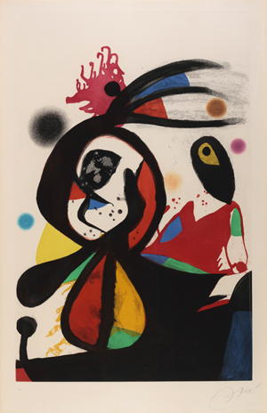 Joan Miro (Spanish, 1893-1983), 'L'aigrette Rouge,' aquatint etching, signed, 15/50, 64in x 46in framed, est. $10,000-$15,000. Myers Fine Art image.