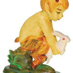 Pan holding a rabbit is a figure made by Weller Pottery for its Gardenware line. It is a little over a foot high. Weller also made a figure of Pan with a flute, but this version with a rabbit is so rare it sold for $3,540 at Humler & Nolan in Cincinnati in December.