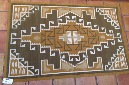 Nettie Nelson wove this Three Turkey Ruins-style rug in the early '70s. It measures 46 by 72 inches. Considered rare, it sold for $1,800. RB Burnham Trading Post image.