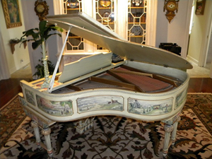 Oglethorpe Auctions, St. Simons, Ga., will sell this hand-painted Mathushek piano on April 6. The piano was made in New Haven, Conn., and has a June 24, 1884 patent date. LiveAuctioneers.com will provide Internet live bidding. Image courtesy LiveAuctioneers.com and Oglethorpe Auctions.