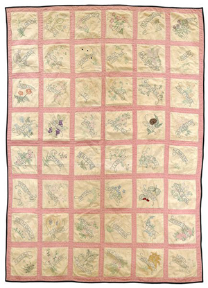 Arizona state flower embroidered quilt, 'Made by Sadie Smith Arizona 1912,' the year Arizona became a state. Image courtesy LiveAuctoneers.com Archive and Brunk Auctions.