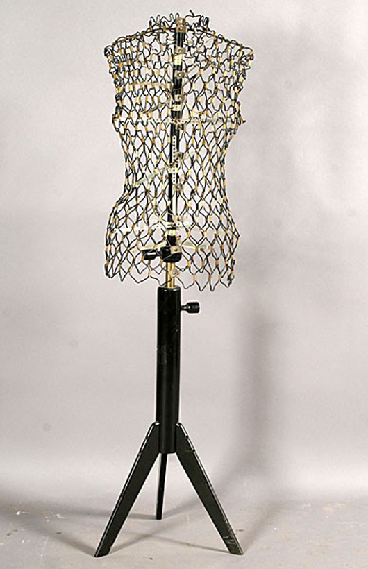 Even a vintage metal dress form like this one from Paris becomes a design element in a contemporary home setting. Image courtesy of LiveAuctioneers.com Archive and Kamelot Auctions.