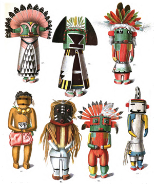 Drawings from an 1894 anthropology book of katsina figures, or spirits, made by the native Pueblo people of the Southwestern United States.