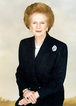 The late British Prime Minister The Right Honourable The Baroness Margaret Thatcher. Image provided by Chris Collins of the Margaret Thatcher Foundation, licensed under the Creative Commons Attribution-Share Alike 3.0 Unported license.