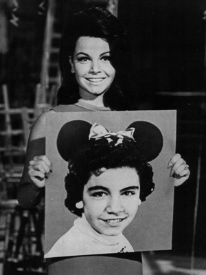 Circa-1975 publicity photo of entertainer Annette Funicello (American, 1942-2013) holding a photograph of herself as a child star on The Mickey Mouse Club (circa 1955–1958).