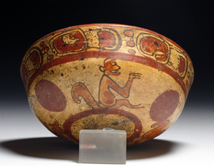Pre-Columbian Maya Copador monkey bowl, El Salvador, ca. A.D. 500 – 900. Estimate: $500 to $750. Antiquities-Saleroom image.
