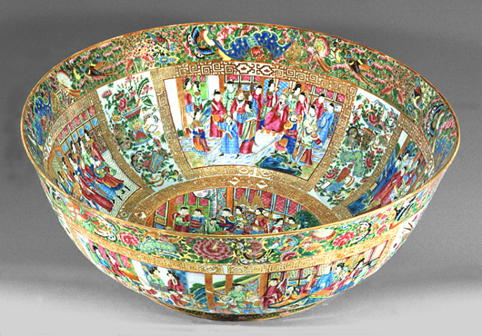 On view at Winterthur, this monumental punch bowl, 1820-1840, is part of an exhibition previewing a promised gift of Chinese export porcelain from the collection of Daniel and Serga Nadler. The bowl is decorated with figures in what is sometimes called the 'Mandarin' style, using a palette inspired by famille rose enamels. Photo credit: Daniel Nadler.
