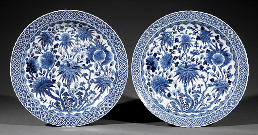 A fine pair of blue and white Chinese export porcelain dishes decorated with flowering plants and encircled by a foliate border, probably 17th - 18th century, sold for $2,987.50 (estimate: $300-$500) a year ago at a Neal auction. Courtesy Neal Auction Co., New Orleans.