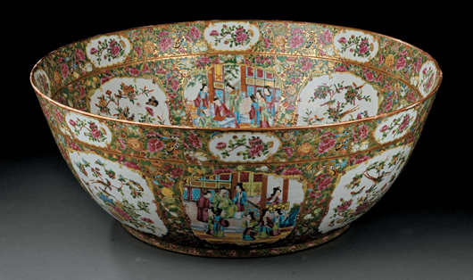 This monumental Chinese famille rose porcelain bowl (diameter 23 1/2 inches), made in the 19th century during the Qing Dynasty, is decorated in vibrant enamels with panels of floral and figural scenes. The lot surpassed its $7,000-$9,000 estimate to bring $14,100 at a Neal auction in 2009. Courtesy Neal Auction Co., New Orleans.