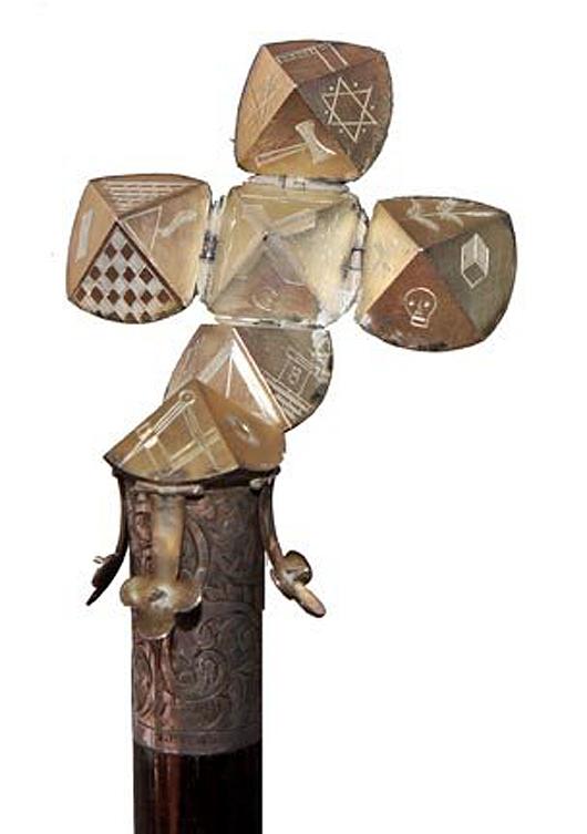 Masonic silver system cane. Estimate: $2,500-$3,500. Kimball M. Sterling Inc. image.