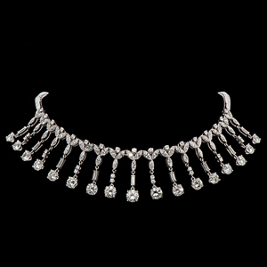 The top lot in Cowan's Fine Jewelry and Timepieces Auction was this 28-carat platinum and diamond necklace made for Marge Schott of the Cincinnati Reds. It sold for $192,000. Cowan's Auctions Inc. image.