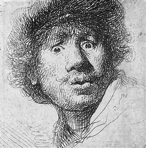 Rembrandt self-portrait, etching 1630. Image courtesy Wilimedia Commons.