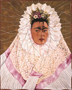 Frida Kahlo (Mexican, 1907–1954). 'Diego en mi pensamiento' (Diego on My Mind), 1943. Oil on Masonite, 29 7/8 x 24 inches. The Jacques and Natasha Gelman Collection of 20th Century Mexican Art. The Vergel Foundation. Conaculta/INBA. © 2013 Banco de México Diego Rivera Frida Kahlo Museums Trust, Mexico, D.F. / Artists Rights Society (ARS), New York.
