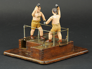 Toy automaton of boxers, lever controls activate figures, possibly a prototype, est. $3,500-$4,500. Bertoia Auctions image.