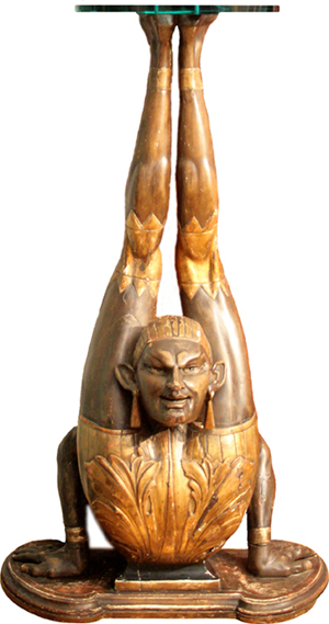 One of three carved-wood pedestals replicating contortionists, this one being 4ft tall. Ross Art Group image.
