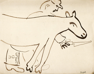 Marc Chagall – 'The Butcher,' brush and ink drawing, circa 1930. Fairhead Fine Art image.