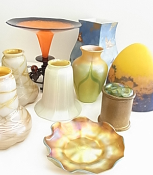 Selection of fine art glass including Tiffany, Quezal, Mueller, Baccarat and Schneider. Hess Fine Auctions image.