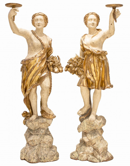 Pair of 18th century Italian carved, painted gilt-female figures, 61 inches. Estimate: $20,000-$30,000. A.B. Levy's image.