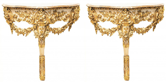 Pair of 19th century French Louis XV/XVI-style carved gilt-wood consoles. Estimate: $2,000-$4,000. A.B. Levy's image.