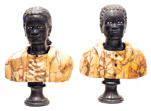 Pair of Italian carved marble blackamoors, man and woman on pedestals. Estimate: $10,000-$20,000. A.B. Levy's image.