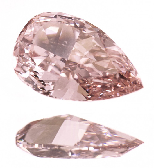 Brilliant cut pear-shape 1.14-carat GIA-certified pink colored diamond. Estimate: $50,000-$70,000. A.B. Levy's image.