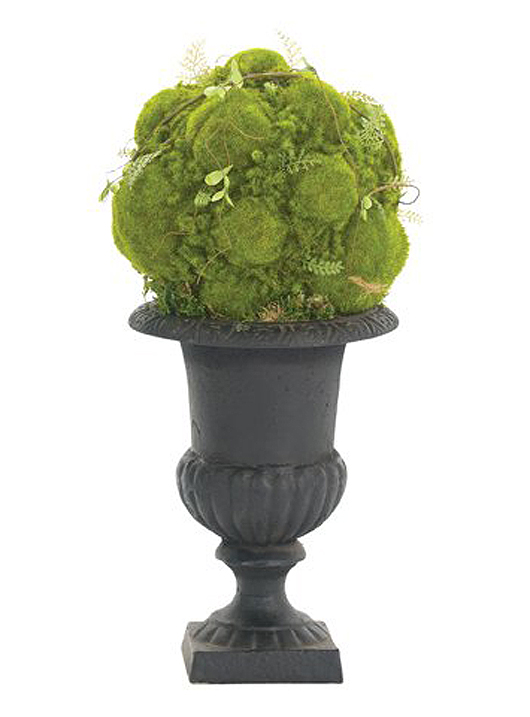 Moss ball, cast-iron urn black. Dimensions: W 8 inches, D 8 inches, H 15 inches. Estimate: $89-$222. Adamsleigh ShowHouse image.