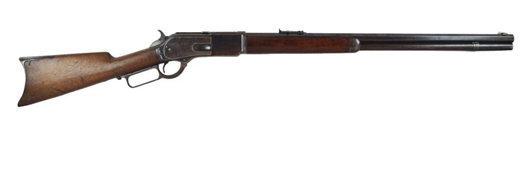 The 1876 Winchester rifle that once belonged to outlaw Bill Dalton of the notorious Dalton brothers gang. California Auctions image.
