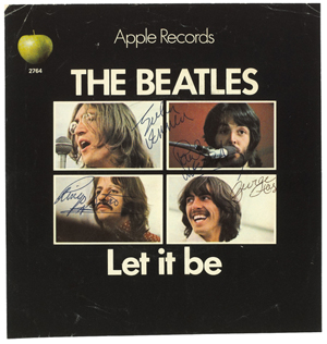 Dublin auctioneers Whyte's rock and pop memorabilia sale saw €4,300 ($5,600) change hands for this set of Beatles signatures on the cover of their 1970 hit single 'Let It Be.' Image courtesy of Whyte's.