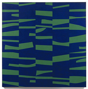 Ellsworth Kelly (American, b. 1923-), The Meschers, 1951, oil on canvas, 59 x 59 inches, Museum of Modern Art. Kelly was a pioneer of hard-edge painting in the 1940s and 1950s. Fair use of low-resolution copyrighted image to illustrate the artist's unique style. Image by permission of the Matthew Marks Gallery, New York, which represents Ellsworth Kelly.