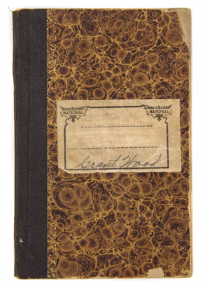 Artist Grant Wood signed the front of this 48-page sketchbook. Image courtesy Leslie Hindman Auctioneers.